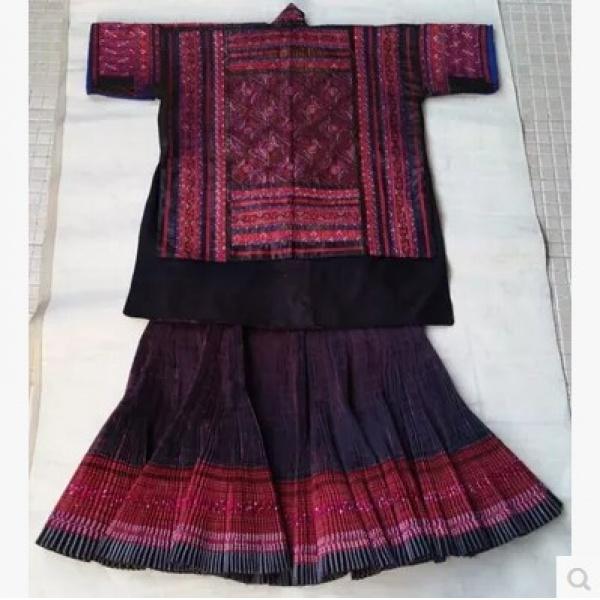贵州苗族服饰苗绣纯手工老绣数纱绣套装 x-130